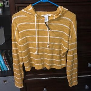 Yellow and white striped long sleeve with hood